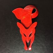 Hot Red Fox Brooch - SIgned Lea Stein Fox  Pin  in Watermarked Silk Effect (SOLD)